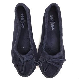 Minnetonka Navy Blue Moccasins with Hardsole
